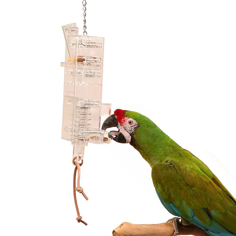 Toys For Birds : Tug n slide foraging tower parrot toy
