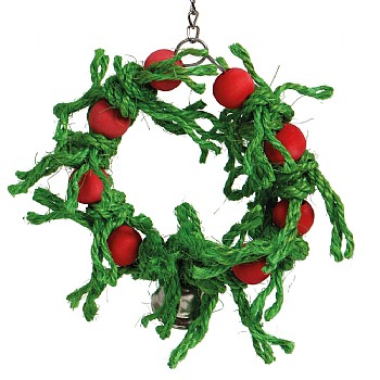 Sisal Christmas Wreath Parrot Toy