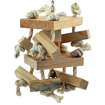 Double Decker Natural Wood & Rope Parrot Toy