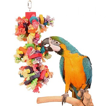 Preenmonster Wood and Rope Parrot Toy