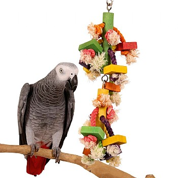 Jumbo Fun Wood and Rope Parrot Toy