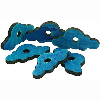 Blue Pine Wood Clouds - Parrot Toy Parts - Pack of 6