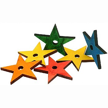 Coloured Pine Wood Stars - Parrot Toy Parts - Pack of 6