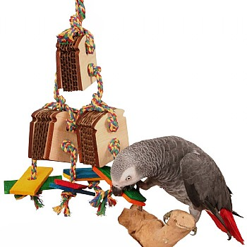 Triple Birdie Bread Chewable Foraging Toy for Parrots
