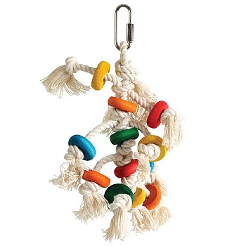 Disc Stacker Wood & Rope Parrot Toy