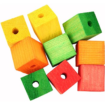 Colourful Wooden Cubes - Large - Pack of 9