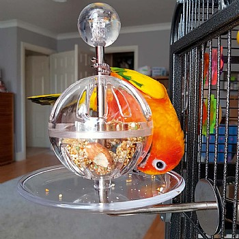 Buffet Ball with Cage Mount - Tough Foraging Parrot Toy