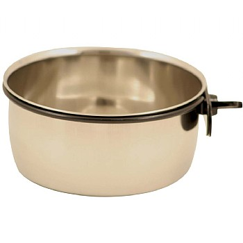 Stainless Steel Coop Cup & Clamp - Large Parrot Bowl