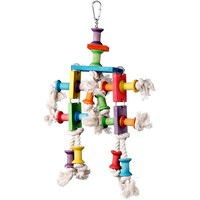 Dancing Spools Wood and Rope Parrot Chew Toy