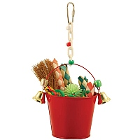 Festive Bucket with Bells Parrot Toy