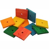 Coloured Wood Blocks Large - Parrot Toy Parts - Pack of 10