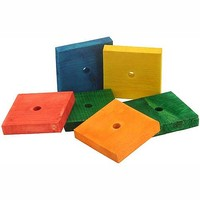 Coloured Wood Blocks Jumbo - Parrot Toy Parts - Pack of 6