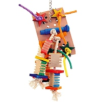 Agabus Wood, Rope & Leather Parrot Toy - Small