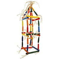 Double Climbing Cube Wood & Rope Parrot Toy - Medium