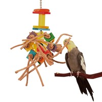 Rou-DumDum Paper Rope & Wood Chew Toy for Parrots