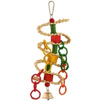 Braided Spool & Blocks Parrot Toy