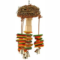 Woven Basket Twister Chiming Parrot Toy