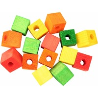 Colourful Wooden Cubes - Small - Parrot Toy Parts - 15 Pack