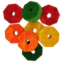 Colourful Octagonal Wheels - Parrot Toy Part  - Pack of 8
