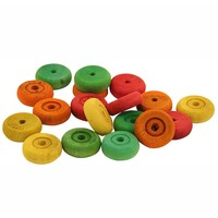 Colourful Wood Wheels - Parrot Toy Part - Pack of 18