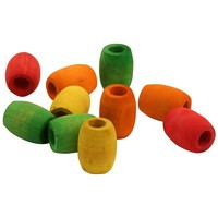 Colourful Wood Barrel Beads - Parrot Toy Parts - 10 Pack