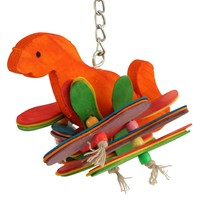 Dino Fun - Coloured Wood Parrot Toy - Small