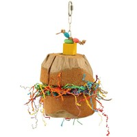 Coconut Treat Holder Fun Foraging Parrot Toy