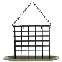 Johnston & Jeff Metal Wild Bird Suet Block Feeder with Tray
