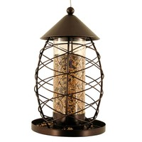 Victorian Lantern Wild Bird Metal Seed Feeder - Antique
