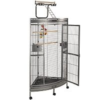 Discovery Corner Parrot Cage with Play Gym Top - Antique