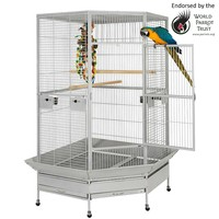 Raleigh Large Solid Top Corner Parrot Cage - Stone