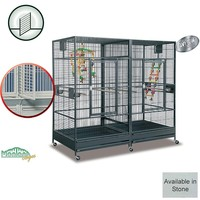 Montana Arkansas II - Large Parrot Cage with Divider - Stone