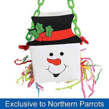 Snowman Foraging Goodie Box Chewable Parrot Toy