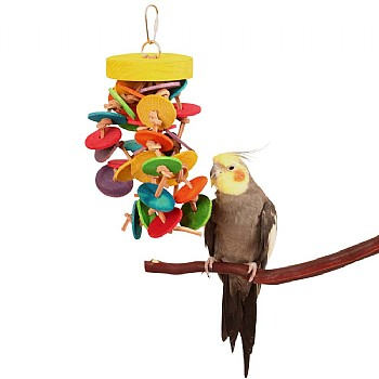 Northern Parrots Disks and Knots Wooden Rope Parrot Toy