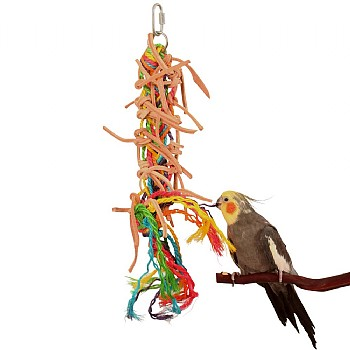 Preening Plait - Leather & Rope Parrot Toy