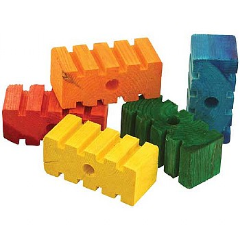 Coloured Chunky Groovy Blocks - Parrot Toy Parts - Pack of 5