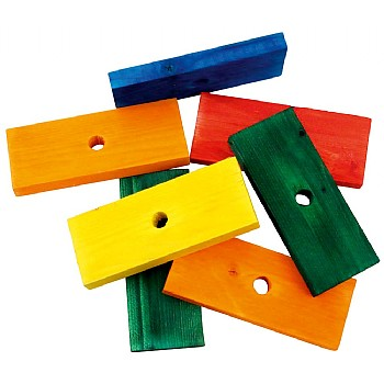 Coloured Wood Blocks Large - Parrot Toy Parts - Pack of 7
