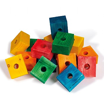 Coloured Wood Blocks Small - Parrot Toy Parts - Pack of 16