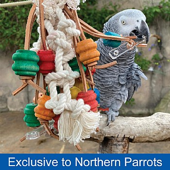 Tippy Wood & Rope Parrot Toy - Small