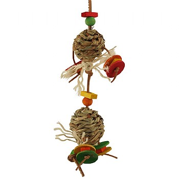 Double Hay Ball Crunch Parrot Toy