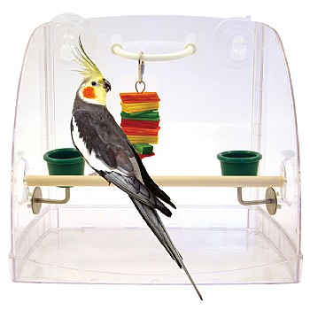 Window Perch & Parrot Play Centre with Feeding Cups
