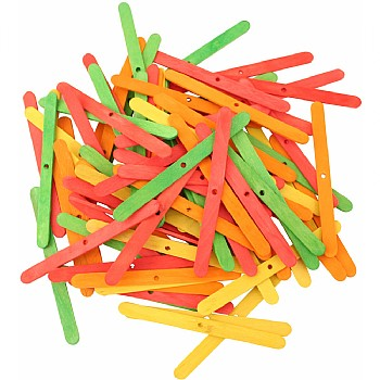 Coloured Wood Ice Lolly Sticks - Parrot Toy Parts - 100 Pack
