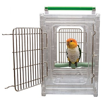 Perch and Go Acrylic Carrier for Pet Birds and Parrots