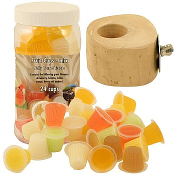 Tub of 24 Parrot Jelly Cups & Holder
