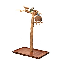 Java Duo Tree - Small - Natural Hardwood Parrot Playstand
