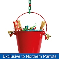 Festive Toy Bucket with Bells Christmas Parrot Toy