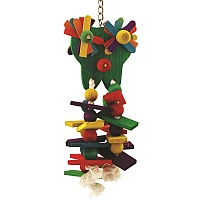 Starry Eyed Wood & Rope Parrot Toy