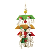 Spinning Block Stacker Wood & Rope Parrot Toy