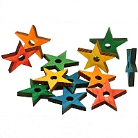 Coloured Pine Wood Stars - Parrot Toy Parts - Pack of 12