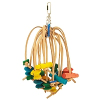 Spiddy - Wood and Leather Parrot Toy - Large
